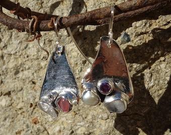 Silver earrings, dangle earrings, soutache earrings multicolor earrings, women earrings.
