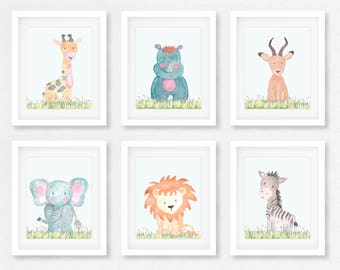 Safari Wall Art, Set of 6 Safari animals, Baby animals, Safari nursery, SSFIVE, Zoo animals, Safari Theme, Elephant, Zebra, Lion, Giraffe,