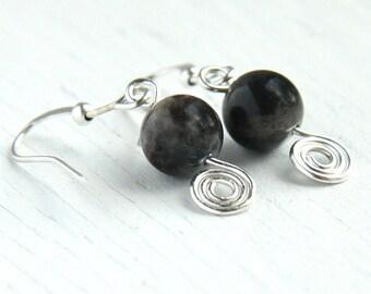 Statement Jewelry Natural Jasper Stone Earrings Simple Minimal Earrings Black Gray Beige Wire Wrapped Spiral Earrings Sterling Silver