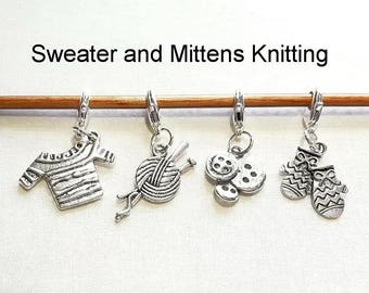 Progress Keepers, Removable Stitch Markers, Knitting Markers, Crochet Markers, Zipper Pull Charms - Set of 4 - Sweater and Mittens Knitting