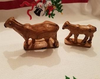 Vintage Auburn Rubber Cow Calf Pair Toy Animals