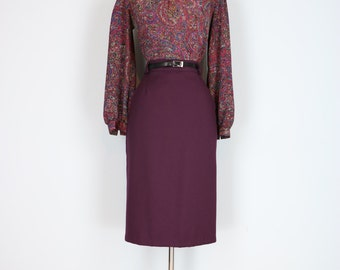 "1980s Skirt - Midi Pencil Skirt - Purple - Matching Belt - Pockets - Classic Vintage Skirt - Size Small XS Waist 25"" 26"""