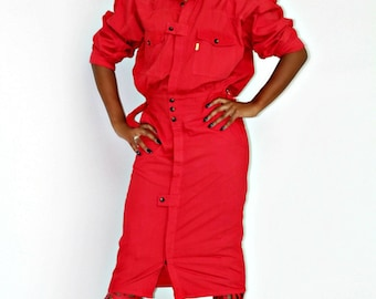 VINTAGE 80's red button down dress