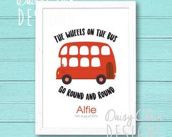 Personalised Nursery Rhyme Print - Children's nursery print - Nursery decor - Red Bus illustration - Wheels on the bus - Personalised gift