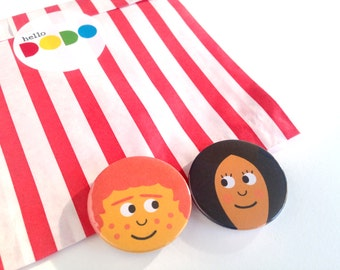 Girl And Boy Badges, Cute Face Badges, Party Bag Fillers, Love Badges, hello DODO Little Friend Badges, Funny Pin Badge, Button Badges