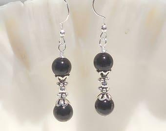 Black jasper and sterling silver earrings
