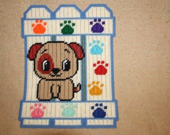 Puppy fence wall hanging