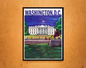 Reprint of a Vintage Travel Posterto Washington D.C.