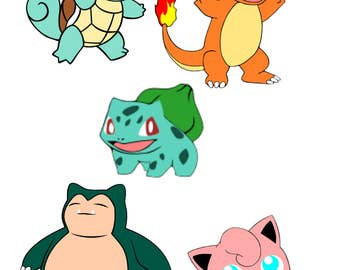Pokemon SVG File-Squirlte, Charmander, Bulbasaur, Snorlax, Jiggly Puff, Meowth, Rattata