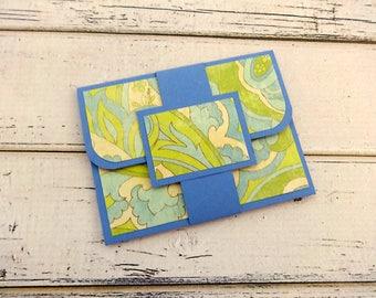 Gift Card Holder, Customizable Gift Card Holder, Gift Card Wallet, Envelope, Birthday Gift Card Holder, Blue Green Paisley Gift Card Holder
