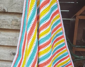Crochet baby blanket, candy stripe baby blanket, summer colours baby blanket, coral,aqua and yellow baby blanket, baby gift