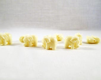 INT125 - 2 beads charms Elephant Charm lucky white off-white Ecru Beige flesh, Imitation coral, 15mm X 11mm.