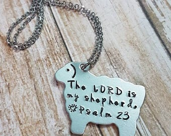 The Lord is my shepherd Psalm 23 hand stamped sheep lamb necklace