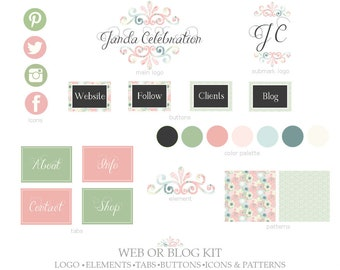 Web or Blog Kit,Primary Logo,Submark Logo,Buttons,Icons,Tabs,Elements,Patterns-Floral,Swirls,Leaves-Pink,Black,Green-For Website or Blog