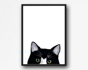 Peeking Tuxedo Cat Watercolor Painting Art Print Black and White Print Minimalist Wall Art Cat Lover Gifts Unframed Art Print Wall Decor