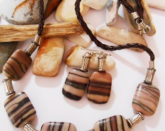 Pink Brown Zebra Jasper Jewelry Set Jasper Leather Necklace & Earrings Chunky Jewelry Statement Necklace Unique Natural Stone PRIORITY MAIL