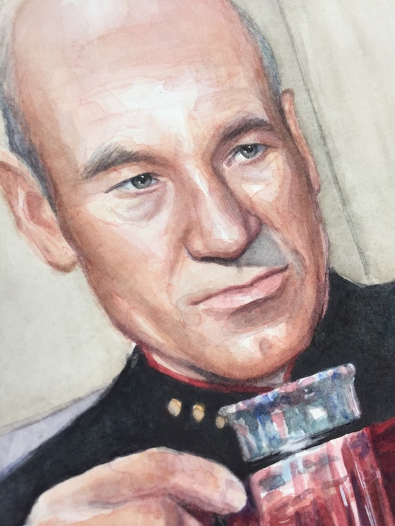 Captain Picard Earl Grey Tea ORIGINAL Watercolor Painting Earl Grey Tea Picard