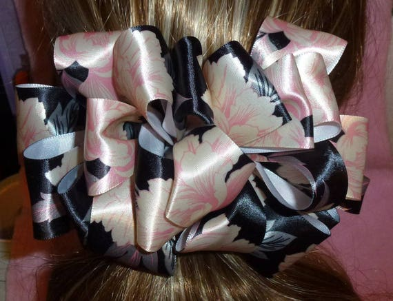 Becky Bows ~OOAK Barrette Hand crafted huge ribbon BIG hair bow Women or Girls giant pink black floral