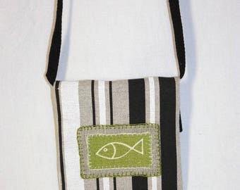 Shoulder bag applied little green fish
