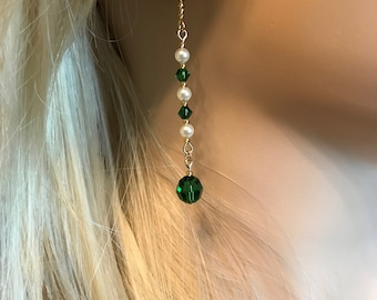 Swarovski Crystal Earrings: Emerald Green and Pearls