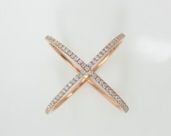 Micro Pave Diamond X Ring band in 18k Rose Gold