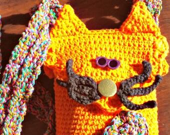 Sherbert the Cat Crochet Mini Hipster Crossbody PATTERN PDF instant digital download