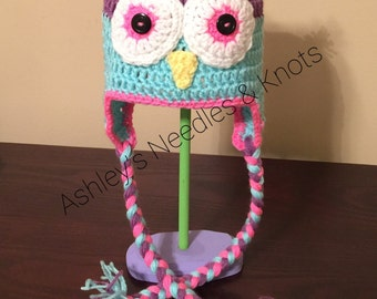 Colorful owl, Owl Hat Crochet, winter hats, Crochet hat with ear flaps, girl owl beanie, toddler girl hats