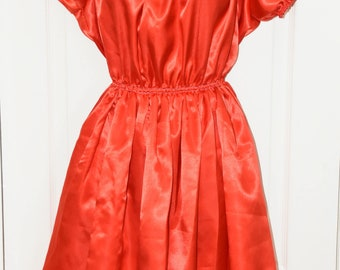 Bright red pretty little silky satin sissy dress, Sissy Lingerie