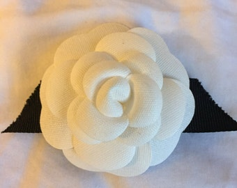Authentic Chanel camellia upcycled to hair barrette / hair clip