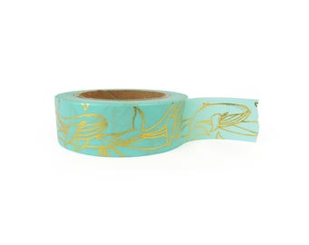 Washi tape - blue whales, gold foil, stationery, stationary, LittleLeftyLou, Snail Mail, Happy mail, masking tape, 10 meter, animal pattern
