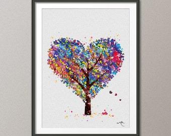 Heart Tree  Watercolor Print Wedding Gift Archival Fine Art Print Wall Decor Art Nursery Art Decor Wall Hanging Love Valentines Day [NO 456]