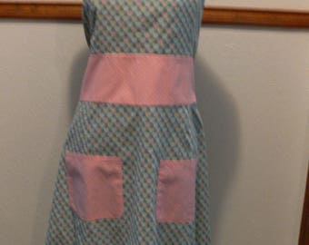Full apron in blue fabric with pink hearts retro cute apron