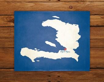 Customized Printable Haiti Country Map Art - DIGITAL FILE - Aged-Look Canvas Wall Art Print