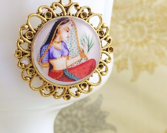 Art Pendant Necklace, India, Miniature Painting, Mythical Jewelry by MinouBazaar