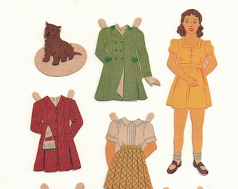 Vintage Thirties Paper Doll with Girl Guide Uniform