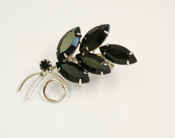 Vintage Black Rhinestone Spray Brooch - Prong Set Navette Rhinestones Silver Tone Pin - Small Mourning Pin - Special Gift For Her
