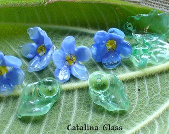 beads/lampwork beads/glass beads/handmade lampwork/artisan lampwork/flowers/blue/delphinium/floral beads/garden/gardener/leaves/