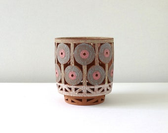 Basket -Pink/Gray with Brown Interior