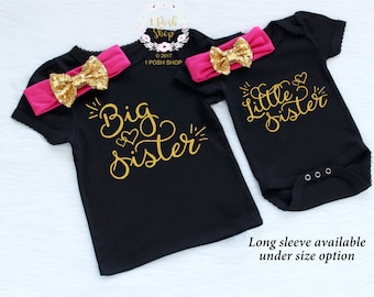 Big Sister Little Sister Outfits, Little Sister Big Sister Shirts, Sibling Shirts, Baby Annoucement, Big Sister Announcement Shirt FS11