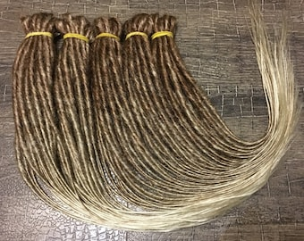 custom ombre synthetic double / single ended dreadlocks dreads extension OMBRE from brown to blonde x10 or FULL SET 20-25 inches dreadlocks