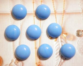 8 Vintage Glass 15mm Turquoise Blue Cabochon Stones
