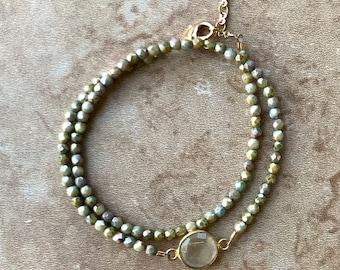 Double Wrap Olive Green Bracelet with Jewel