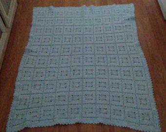 blue Itsy bitsy spiderweb baby blanket