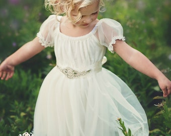 Flower Girl Dress, Flower Girl Dresses,Country Rustic Wedding Dress lace flower girl dress, Ivory lace dress,Baby toddler flower girl dress