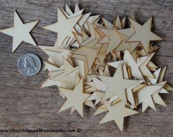 50 Small 1-3/4 inch Mini Wood Stars, Wood Confetti - Rustic Wedding Decor- 1.75 Flag making stars- Wooden Stars-  DIY Craft Supplies Flag