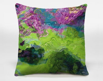 Decorative pillow cover with abstract art 16x16 and 18x18 in bright green and purple, throw pillow cover, Archipelago