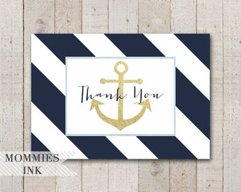 Gold Anchor Folded Thank You Note, Anchor Thank You Card, Folded Note, Navy and White Thank You Note, Nautical Theme, Anchor Baby Shower