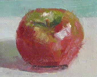 Kitchen Painting ACEO Apple Painting Original Still Life Oil Painting Unique Gift for Him or Her Miniature Canvas Jennifer Boswell
