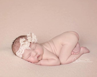 Tarra - Vintage Inspired - Beige Cream Gold Peach Nude - Lace Bow Headband - Twine Jute - Newborn Infant Baby Girl Toddler Adult