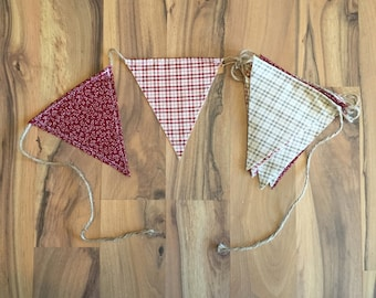 Floral and plaid cloth pennant banners